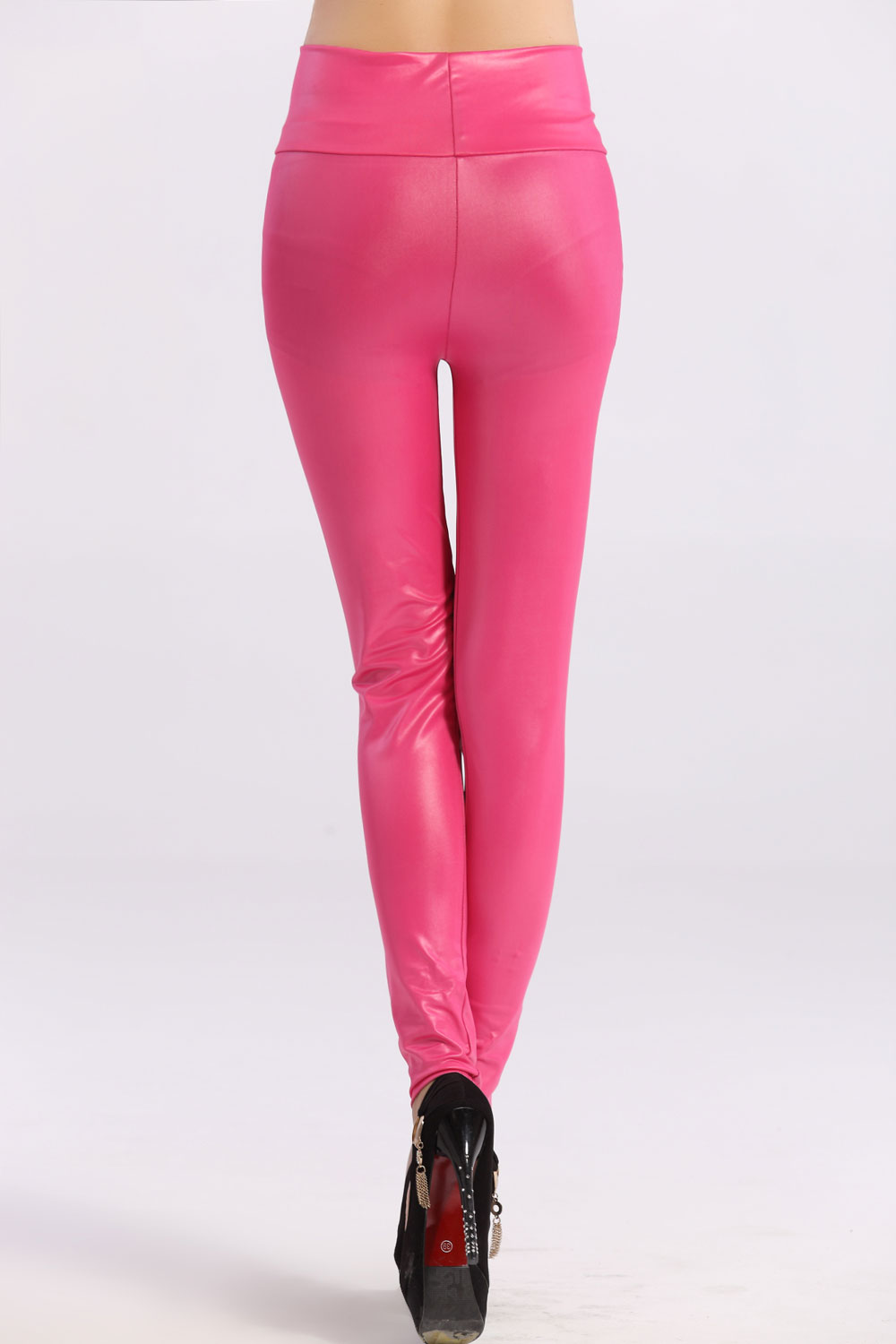 dirt cheap 2019 best official site Pink Pleather Leggings with Zip